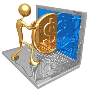 Фото компьютера с долларами